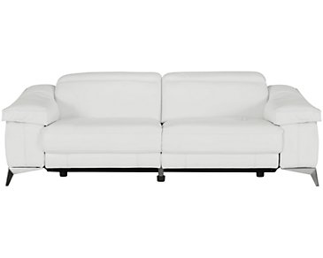 Luca White Leather & Vinyl Power Reclining Sofa