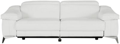 Luca White Leather U0026 Vinyl Power Reclining Sofa