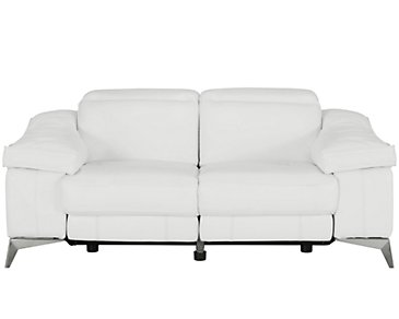Luca White Leather & Vinyl Power Reclining Loveseat
