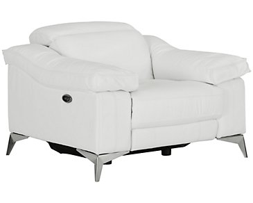 Luca White Leather & Vinyl Power Recliner
