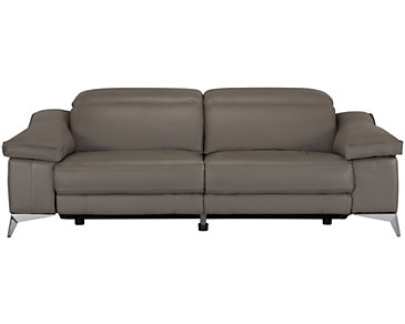 Luca Pewter Leather & Vinyl Power Reclining Sofa