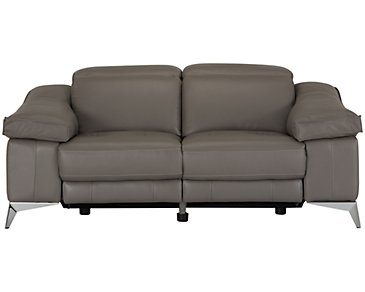 Luca Pewter Leather & Vinyl Power Reclining Loveseat