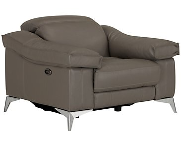 Luca Pewter Leather & Vinyl Power Recliner