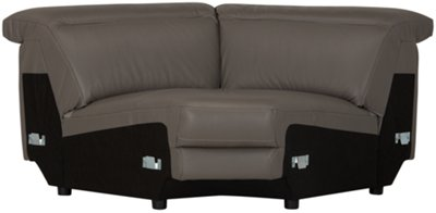 Luca Pewter Leather U0026 Vinyl Small Two Arm Power Reclining Sectional