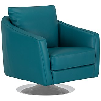 Luca Teal Leather Swivel Accent Chair