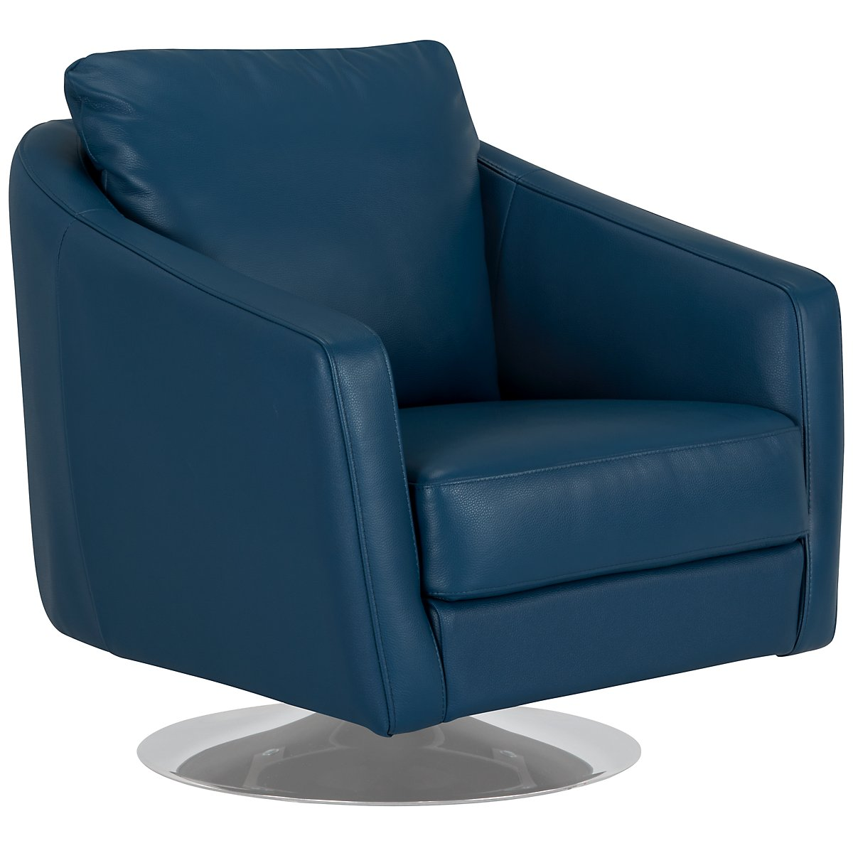 City Furniture Luca Dk Blue Leather Swivel Accent Chair
