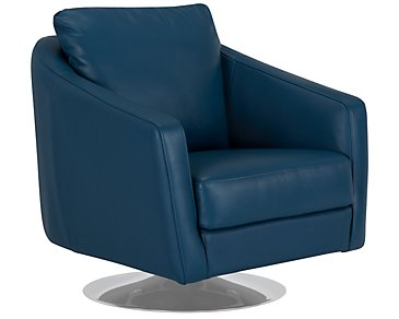 Luca Dark Blue Leather Swivel Accent Chair