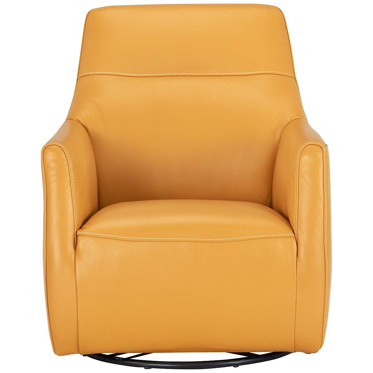 city furniture izzy yellow leather swivel accent chair - izzy yellow leather swivel accent chair