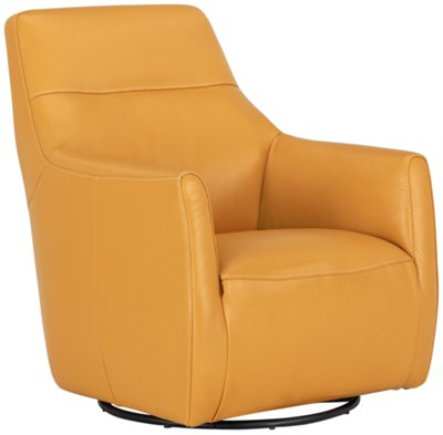 Izzy Yellow Leather Swivel Accent Chair