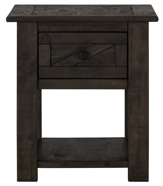 Garrett Dark Tone Wood Storage End Table