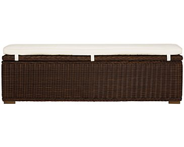 Canyon3 Dark Brown Woven Dining Bench