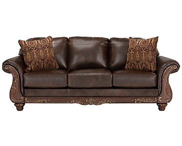Irwindale Dark Brown Bonded Leather Sofa
