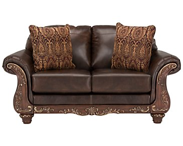 Irwindale Dark Brown Bonded Leather Loveseat