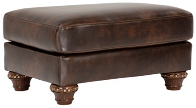 irwindale dark brown bonded leather ottoman - Brown Leather Ottoman