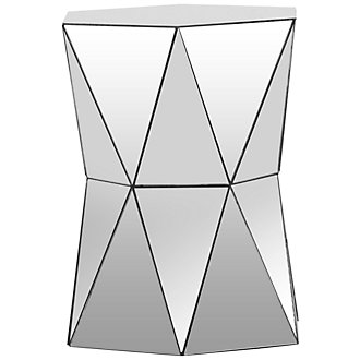 Hexagon Mirrored Large Accent Table
