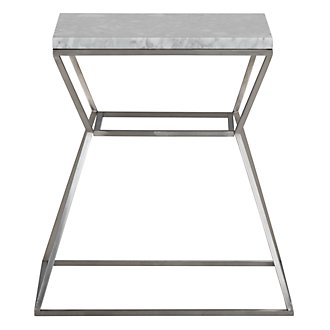 Ava White Metal Accent Table