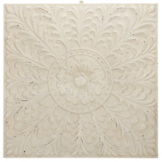 Flower White Square Metal Wall Art