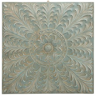 Flower Light Teal Square Metal Wall Art