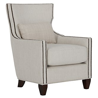 Barrister Light Taupe Fabric Accent Chair