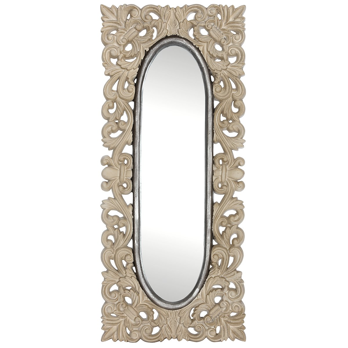 Sia Light Gray Wood Mirror