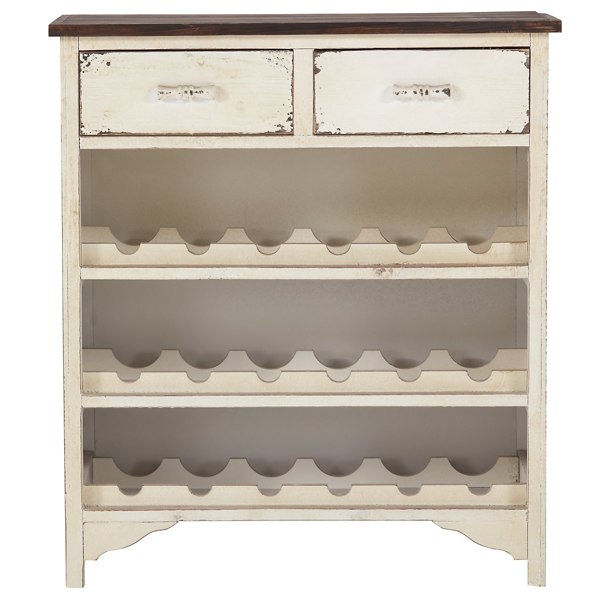 Pearl White 2-drawer Wine Rack