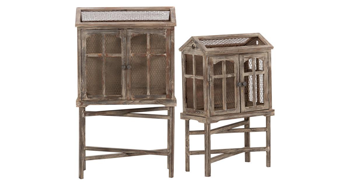 Bird Cage Wood Wood 2 Door Cabinet