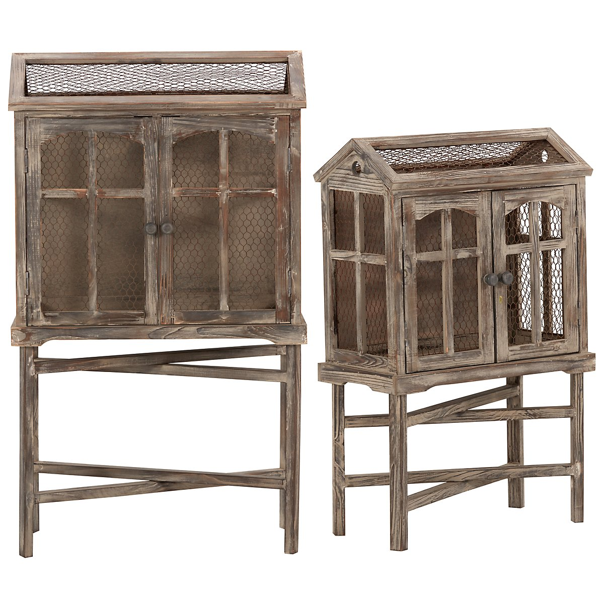 Bird Cage Wood Set Of 2 2-door Cabinet