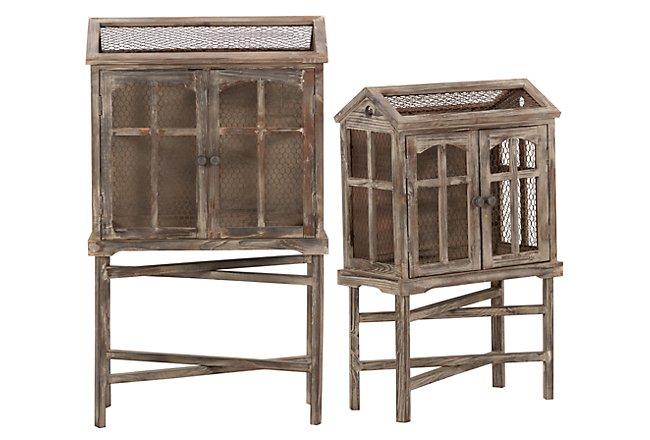 Bird Cage Wood 2-door Cabinet