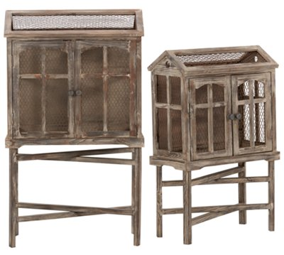 Bird Cage Wood Set Of 2 Accent Piece