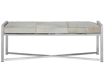 Asher Gray Leather Bench