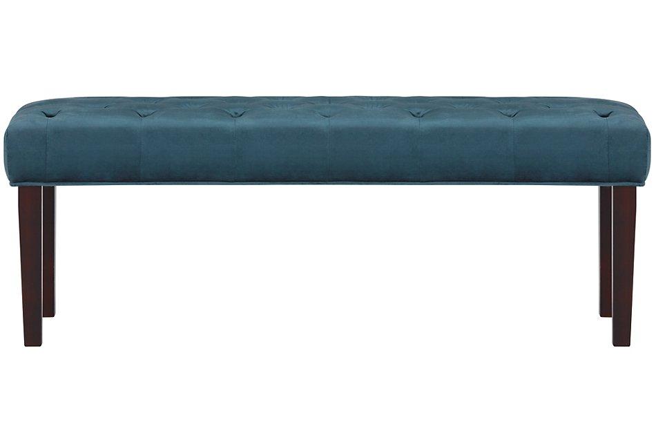 Sloane Dark Blue Fabric Bench | Bedroom - Benches | City ...