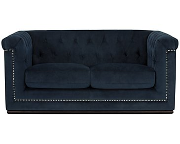 Blair Dark Blue Microfiber Loveseat