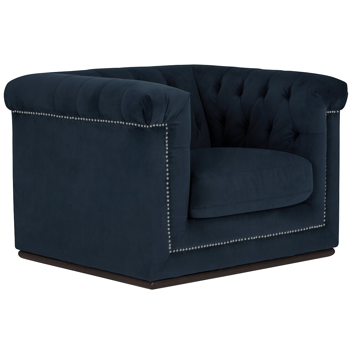 Blair Dark Blue Microfiber Micro Chair