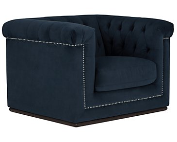 Blair Dark Blue Microfiber Chair