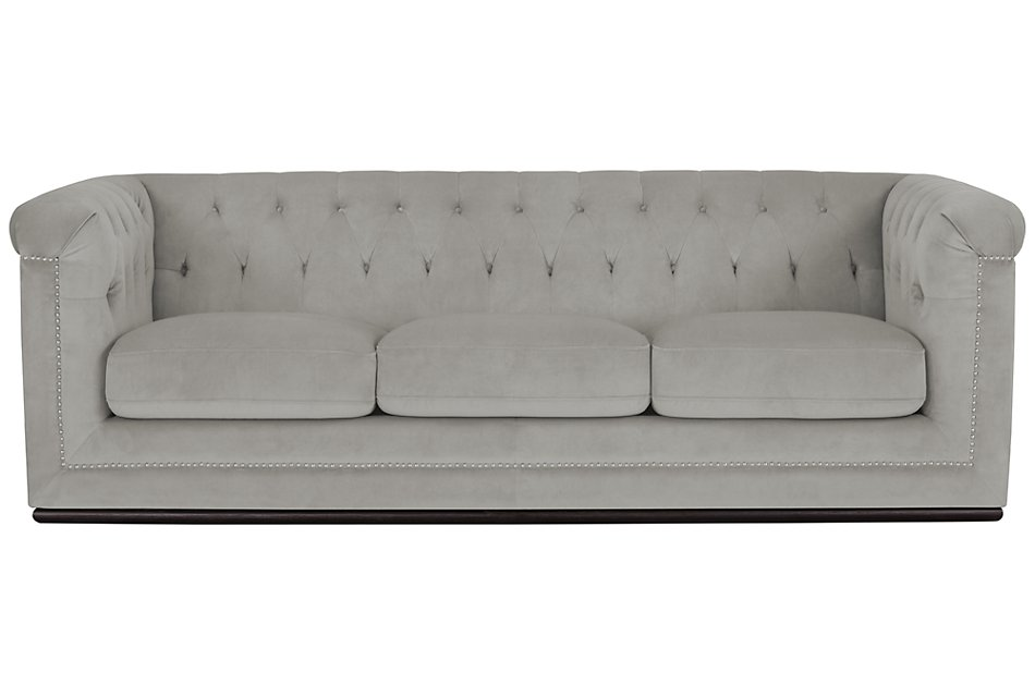 Blair Gray Microfiber Sofa | Living Room - Sofas | City ...