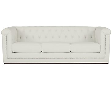 Blair White Microfiber Sofa