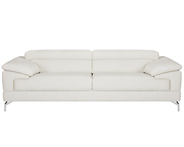 Dash White Microfiber Sofa