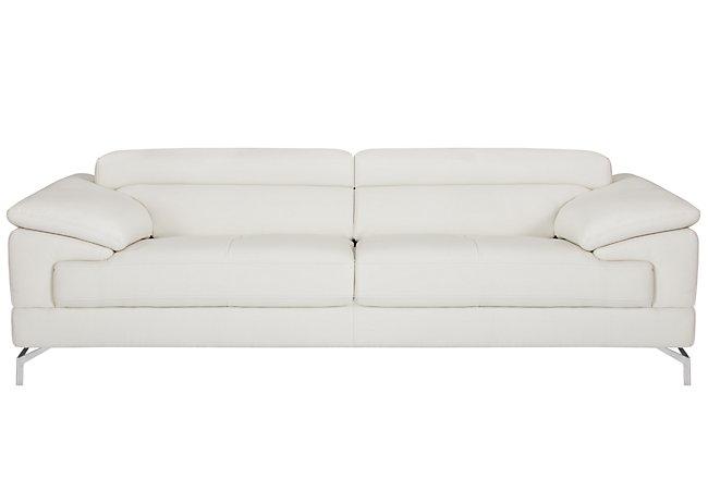 Dash White Microfiber Sofa