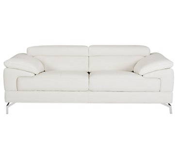 Dash White Microfiber Loveseat