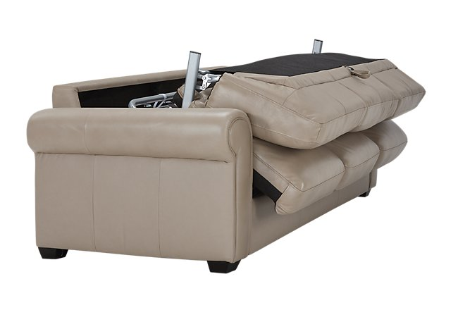 Lincoln Taupe Leather & Vinyl Sleeper