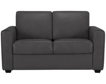 Lane Dark Gray Leather & Vinyl Loveseat