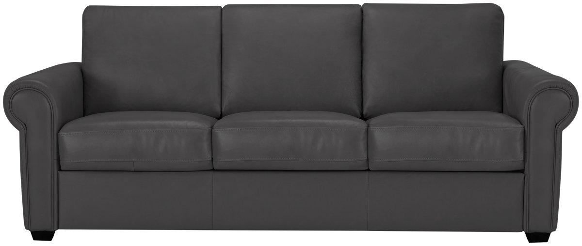 Lincoln Dark Gray Leather & Vinyl Sofa