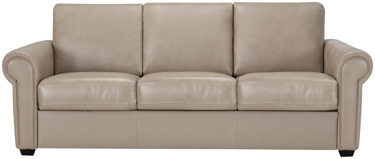 Lincoln Taupe Leather & Vinyl Sofa
