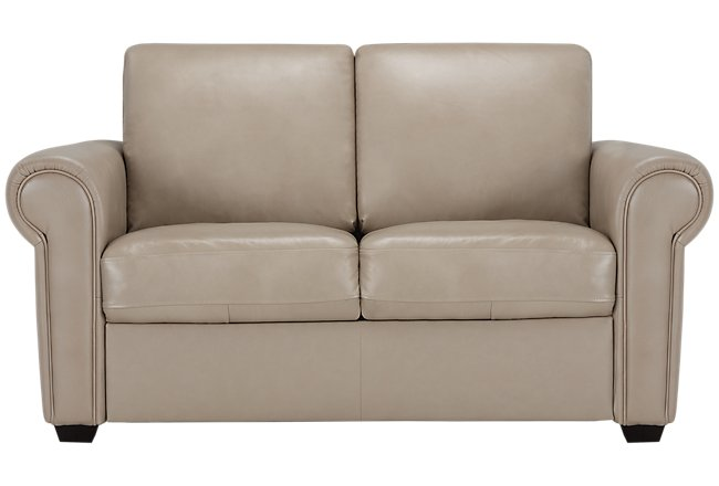 Lincoln Taupe Leather & Vinyl Loveseat