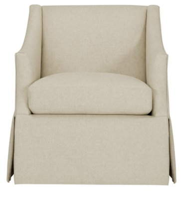 clayton white fabric swivel accent chair view larger