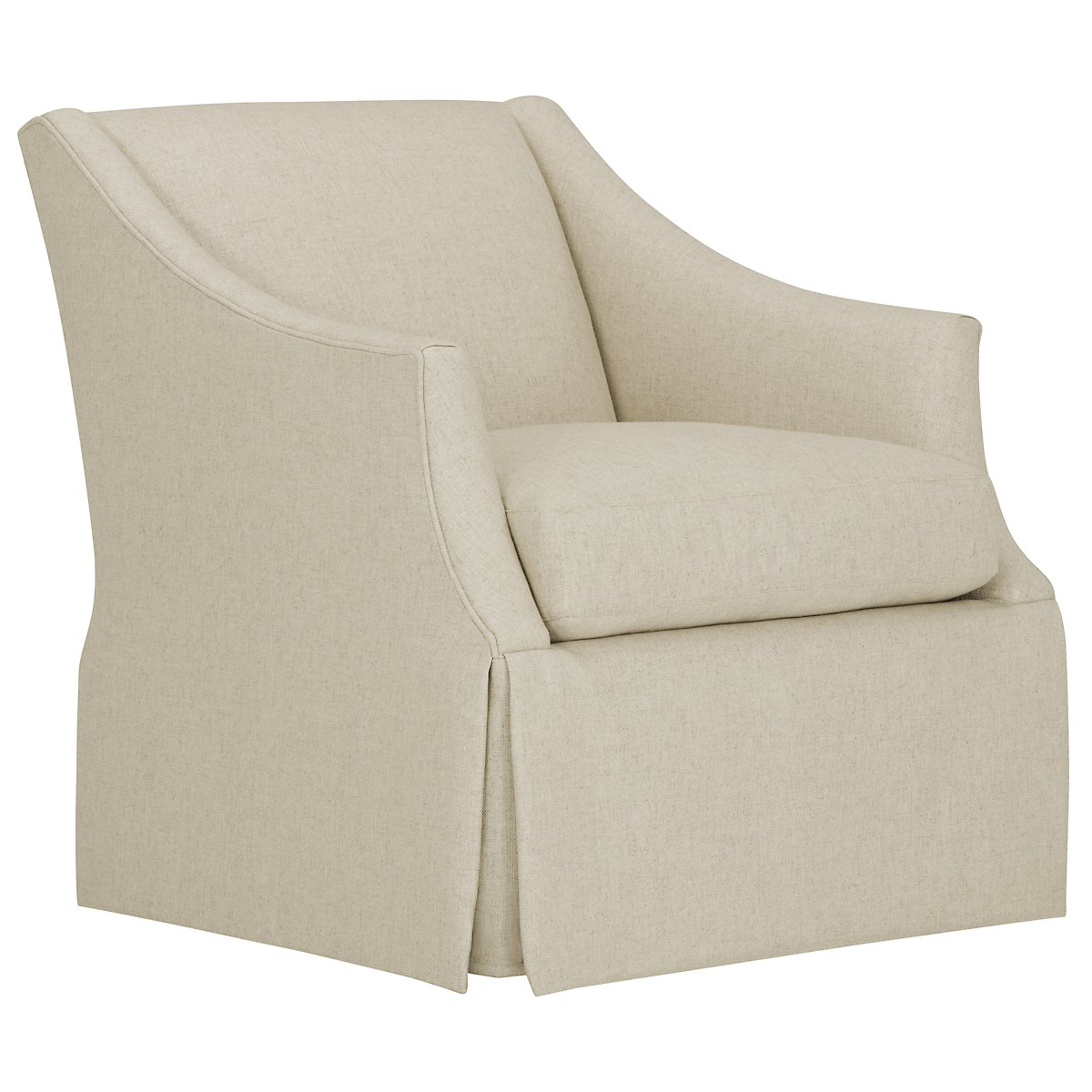 Clayton White Fabric Swivel Accent Chair