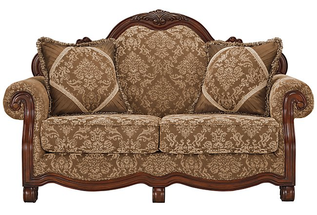 Regal Dark Tone Fabric Loveseat