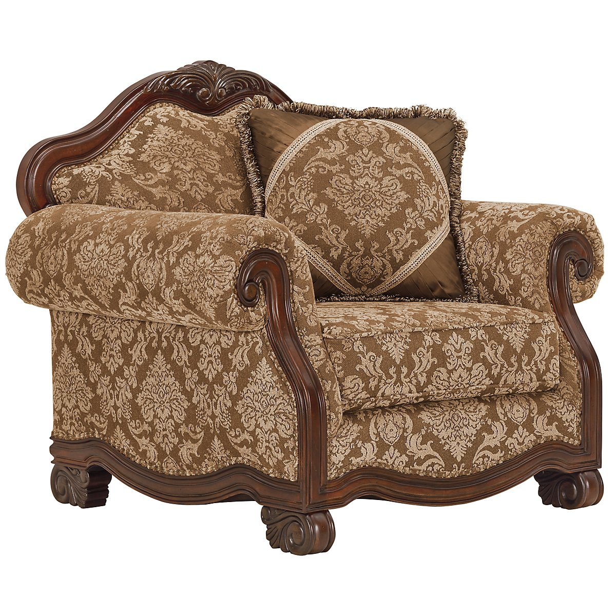 Regal Dark Tone Fabric Chair