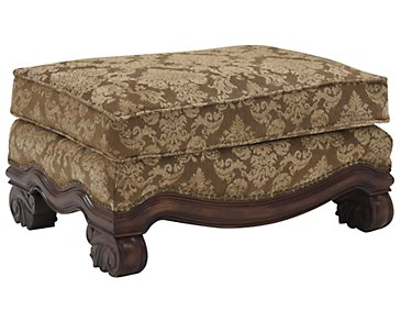 Regal Dark Tone Fabric Ottoman