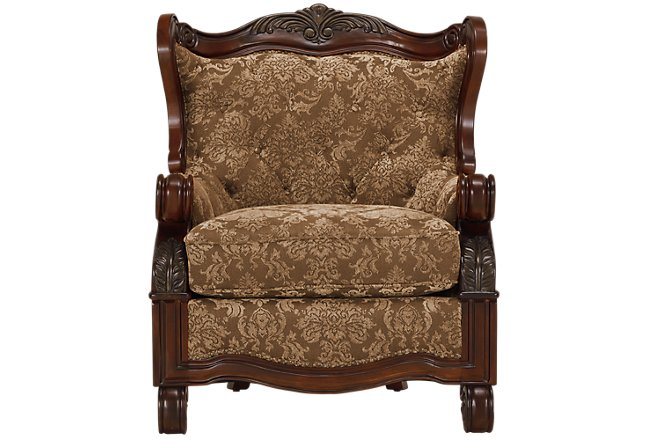 Regal Dark Tone Fabric Accent Chair